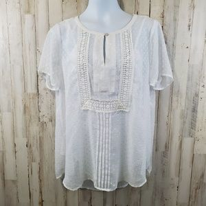 Daniel Rainn Womens Top L White Swiss Dot Boho